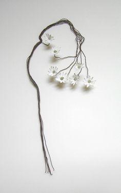 Helen Earl. Sydney Flannel Flowers. Found copper wire, Porcelain