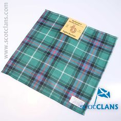 Pure wool pocket square in MacDonald of the Isles Green Tartan - Available from ScotClans