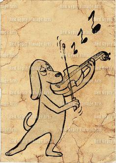 Dog Playing Violin Vintage Cartoon Dog Food by RedGypsyVintageArts
