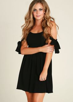 Cute Black Crepe Off Shoulder Bow Skater Dress, Little Black Dresses, LBD, Sweetheart, Fit and Flare, Mini, Party, Cocktail, Flowy, Chic, Beach, Vacation, Dresses #sexy shoulders