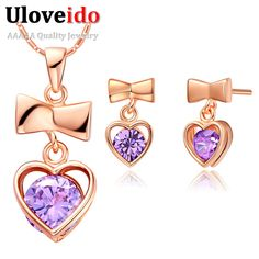 Find More Jewelry Sets Information about Rose Gold Woman Necklace Set Love Jewelry Products Purple Crystal Pendants Silver Plated Earrings Wedding Accessories Ulove T311,High Quality jewelry fruit,China jewelry christmas Suppliers, Cheap jewelry mix from ULOVE Fashion Jewelry on Aliexpress.com