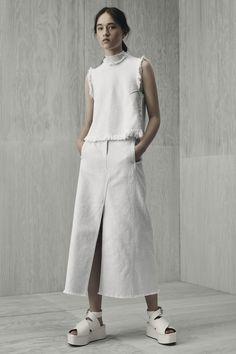 long line denim skirts -- T by Alexander Wang Resort 2016 Fashion Show