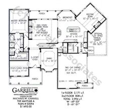 Mayfair A House Plan 02094, 1st Floor Plan, Traditional Style House Plans, Master Down House Plans