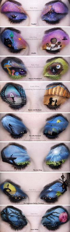 14 Incredible Disney Eye Makeup Looks That Will Blow You Away Disney makeup<br> How is this ~art~ even possible? Disney Eye Makeup, Makeup Fx, Beauty Makeup, Eyeshadow Makeup, Eyeshadow Palette, Movie Makeup, Simple Eyeshadow, Pink Eyeshadow, Eyeshadow Designs