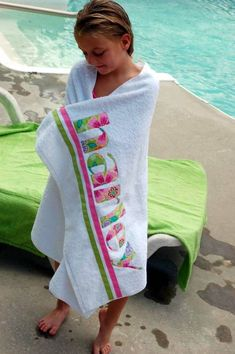 Personalized beach towel! Will need these for each of my kids: