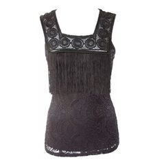 """D9 Black Lace Front Fringe Sleeveless Top ‼️PRICE FIRM‼️   Long Fringe Lace Top  Size Large (runs small)  Retail $59    FABULOUS!!!  Plenty of stretch for a perfect & comfortable fit.  95% polyester, 5% spandex. Please check my closet for many more items including designer clothing, handbags, shoes, jewelry & more!     Bust 32-38""""  Length of garment 25"""" Yoyo 5 Tops"""