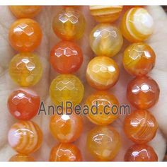 orange striped agate bead, faceted round (GA1194-10MM) approx 10mm dia Agate Beads, Diy Crafts, Orange, Money Tips, Saving Money, Save My Money, Homemade, Diy Home Crafts, Diy Projects