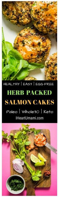 Pinterest: Whole30 and Paleo Salmon Cakes Recipe with homemade light caesar dressing. No egg, mayonnaise and anchovies. These egg-free Paleo Salmon Cakes use fresh salmon and are super flavorful and easy to make, paired with dairy-free caesar salad dressi