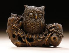 Ikkyu (style of) (Japan)   Owl and Owlets, early to mid-19th century  Netsuke, Wood with inlays. LACMA