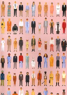 Wes Anderson's quirky, colourful, alternately joyful and morose characters Wes Anderson Characters, Wes Anderson Movies, Wes Anderson Style, West Anderson, Grand Budapest Hotel, Art Paintings, Print Patterns, Illustration Art, Character Design