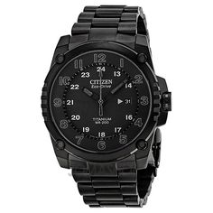 Citizen Eco Drive STX43 Black Dial Titanium Mens Watch BJ8075-58E