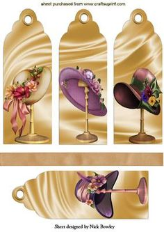 LADIES VINTAGE HATS ON A STAND BOOKMARKS on Craftsuprint designed by Nick Bowley - LADIES VINTAGE HATS ON A STAND BOOKMARKS, Makes four lovely cards, add your own finishing touch, print extra to layer - Now available for download!