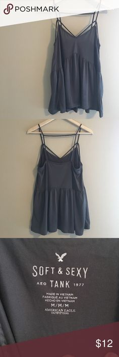 American Eagle Soft & Sexy Tank straps tank. super cute on! no holes, stains or abnormalities. smoke/pet free home. natural wear down, but otherwise in great condition! American Eagle Outfitters Tops Tank Tops