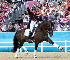 Charlotte Dujardin and Valegro parading their Olympic individual gold medal. © 2012 Ken Braddick/dressage-news.com