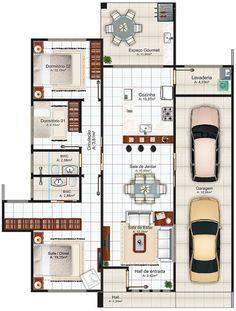 Projeto Arquitetônico: Casa Porto Alegre • Cód. 105 • R$ 595,00