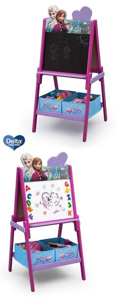 The perfect piece for your little girl's playroom! Not only will she love the Frozen theme featuring Anna, Elsa and Olaf, but she will be able to learn and use her imagination while playing with either side of this activity easel from Delta Children! #frozen #disney #DeltaChildren