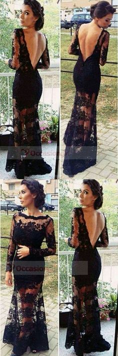 Sexy Black Lace Column Long Sleeves Open Back Prom Dresses Evening Gowns Open Back Prom Dresses, Prom Dresses Long With Sleeves, Backless Prom Dresses, Lace Dress With Sleeves, Dance Dresses, Ball Dresses, Dress Lace, Party Dresses, Ball Gowns Prom