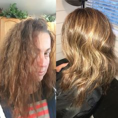 Before and after starting the lighting process with #olaplex #rusk & Relaxer and highlights +color | My work | Pinterest | Relaxer azcodes.com