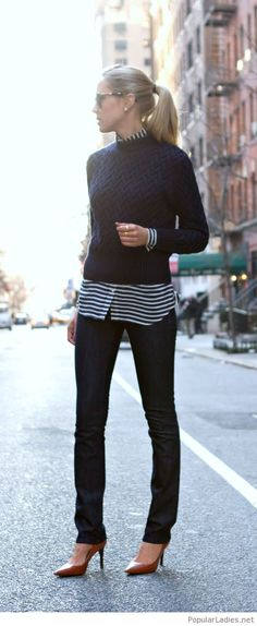 black-pants-and-sweater-shirt-and-brown-shoes