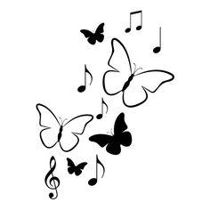 Vlinders en muzieknoten muursticker raamsticker