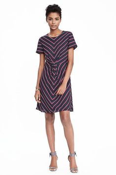 Game Day Dresses: Short-Sleeve Striped Pleat Dress from Banana Republic