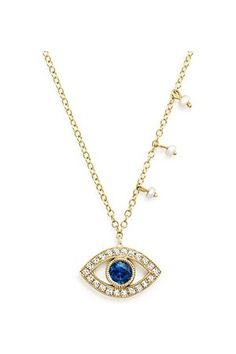 Women Necklaces – 14K Yellow Sapphire and Diamond Evil Eye Necklace, 16