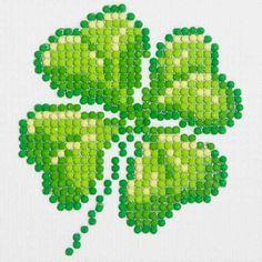 Diamond Dotz Diamond Embroidery Facet Art Kit, 6 inch x 6 inch, Four Leaf Clover, Green Hand Embroidery Patterns, Cross Stitch Patterns, Pot A Crayon, Four Leaves, 5d Diamond Painting, Four Leaf Clover, Clover Green, Cross Stitching, Pixel Art