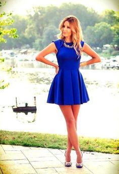 Loving the Cobalt blue! Pretty Girl in sleeveless mini dress fashion style Fashion Mode, Look Fashion, Blue Fashion, Fashion Ideas, Fashion 2015, High Fashion, Female Fashion, Ladies Fashion, Fashion Styles