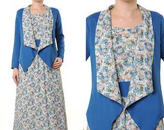 SALE!! Free Shipping!! 2 Tone Cotton Floral Cardigan Long Sleeves Maxi Dress Size S/M - 3089