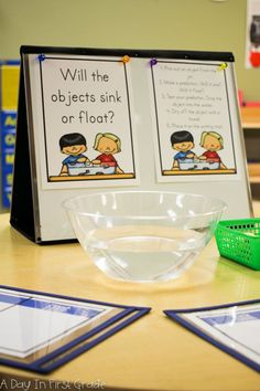 Kindergarten students participate in STEM activities exploring the concept of whether items sink or float