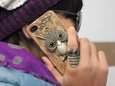 Antique Brass Big Crystral Cute Owl Hard Case Cover by moonboat, $12.99