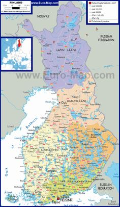 Detailed Political Map of Finland Finland Map, Treaty Of Paris, Trade Association, Old Maps, Travel Maps, Cartography, Helsinki, Four Seasons, Politics