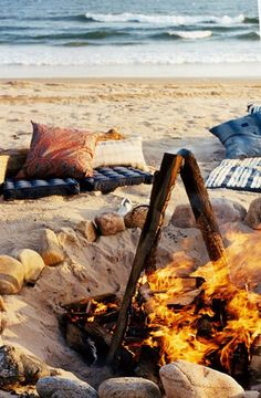 bonfire on the beach when the sun is setting...the best!