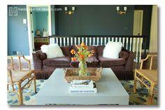 The living room at Fieldstone Hill gets a glamour makeover. Design by Fieldstone Hill Design. Paint color: Benjamin Moore, deep secret