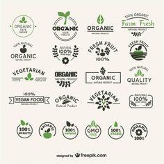 Colección de etiquetas de alimentos naturales y orgánicos.
