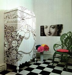 DIY inspiration: Drawings on furniture. Would be nice to update an old cabinet for a teenage girl room.