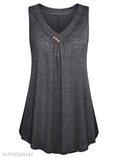Women's Casual Button Decor Flowy Tank Tops Basic Sleeveless V Neck Tunic Top Blouse Tunic Tank Tops, Summer Tank Tops, Black Tank Tops, Short, Shirt Blouses, Tee Shirt, Fashion Outfits, Fashion Site, Men Fashion