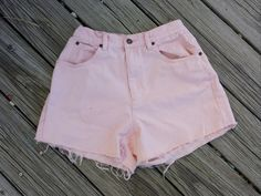 High Waisted Pink Denim Shorts  ULTRA High by TomieHarleneVintage, $16.99  #highwaisted #highwaist #highwaistedjeanshorts #pink #babypink #blush #ultrahighwaist #pinkjeanshorts