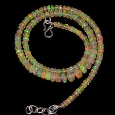 "51CRTS 3.5to7MM 18"" ETHIOPIAN OPAL FACETED RONDELLE BEADS NECKLACE OBI1715 #OPALBEADSINDIA"