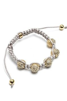 Enlightened 5 Bead Shamballa Macrame Bracelet - Gray Cord $29.99  --  Exquisite 5 Jewel ball bead Shamballa-style bracelet represents ancient Buddhist ideals of balance, peace & love. Gray/Grey macrame cord with adjustable knot.     Available in Gold jewel ball beads.  http://www.avaadorn.com/enlightened-5-bead-shamballa-macrame-bracelet-gray-cord-p-350.html
