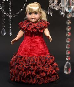 Paid and Free Crochet Patterns for Dolls Like the American Girl Doll Free Crochet Pattern - Doll Ball Gown Special Occasion Dress Crochet Doll Dress, Crochet Doll Clothes, Doll Clothes Patterns, Girl Doll Clothes, Girl Dolls, Dress Patterns, Ag Dolls, Doll Patterns, Pattern Dress