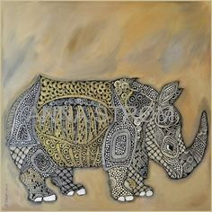 """Rhino"" Original painting by Anna Strøm.canvas,acrylic, black ink,contemporary, canvas,acrylic, contemporaryart, art,home decor,  wall decor,  pictures, animals painting,  African painting,  modern, modern art African Paintings, Animal Paintings, Rhino Animal, Modern Art, Contemporary Art, Decorating With Pictures, Painting Canvas, Henna, Original Paintings"