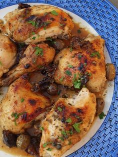 Chicken Marbella---Is incredibly easy to make. Most of the preparation is done the day before…You simply rub the chicken with the marinade, toss in some capers, olives and prunes, and let it sit in the fridge overnight. The next day, you douse it with white wine, sprinkle some brown sugar over top, and bake it. That's really all there is to it.