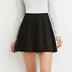 Black classic skater skirt Excellent condition • worn once • no trades • add to a bundle for $6 Forever 21 Skirts Circle & Skater