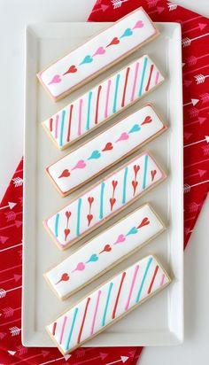 Simple Valentine's Cookie Sticks – Glorious Treats Fancy Cookies, Iced Cookies, Cute Cookies, Cupcake Cookies, Sugar Cookies, How To Make Cookies, Cupcakes, Heart Cookies, Cookie Favors