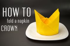 Learn how to fold a napkin into a Crown from a paper napkin. You can also use starched cloth napkins. Very simple instruction (step by step). Creative napkin folds.