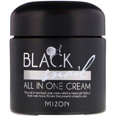Mizon, Black Snail, All In One Cream, fl oz ml) - iHerb Prunus Mume, Cream Hats, Coffea Arabica, Theobroma Cacao, Glass Containers, The Body Shop, Body Wash, Snail, Shea Butter