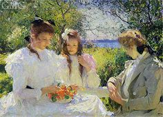 Portrait of My Daughters - Benson, Frank W. (American, 1862 - Fine Art Reproductions, Oil Painting Reproductions - Art for Sale at Bohemain Fine Art Figure Painting, Painting & Drawing, Painting Styles, Painting Tips, Claude Monet, American Impressionism, Impressionist Paintings, Oil Paintings, Victorian Art