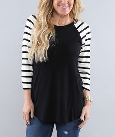 Another great find on #zulily! Coco and Main Black Stripe Raglan Tunic by Coco and Main #zulilyfinds