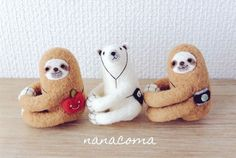 Needle felting wool cute animal bear pets sloths(Via @nanacoma7575)